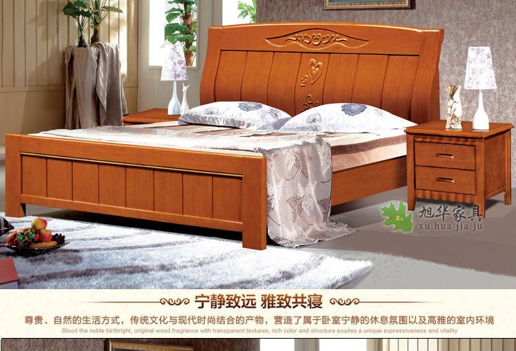 高档加厚全实木床1.8米双人橡木床 木头床大床现代简约高箱储物床图片