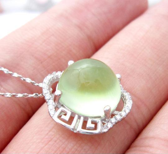 时尚ol优质天然葡萄石吊坠 s925银项链 水晶宝石项坠 饰品代工