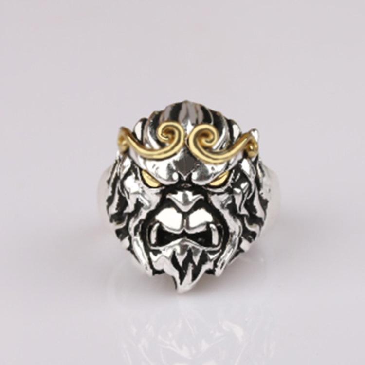 紧箍咒戒指银饰批发泰银复古猴头戒指爆款大圣归来手饰一件代发