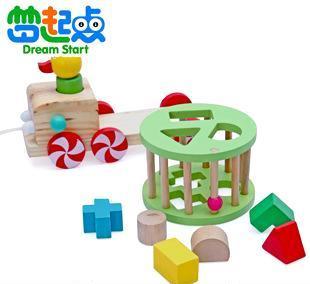 热销益智玩具厂家 智慧小鸭拖拉车 木制积木早教玩具品牌 混批