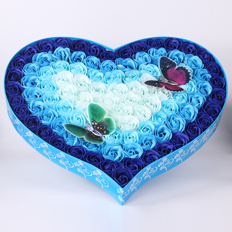 渐变彩灯蝴蝶玫瑰香皂花礼盒创意时尚圣诞节生日礼物送女朋友批发图片