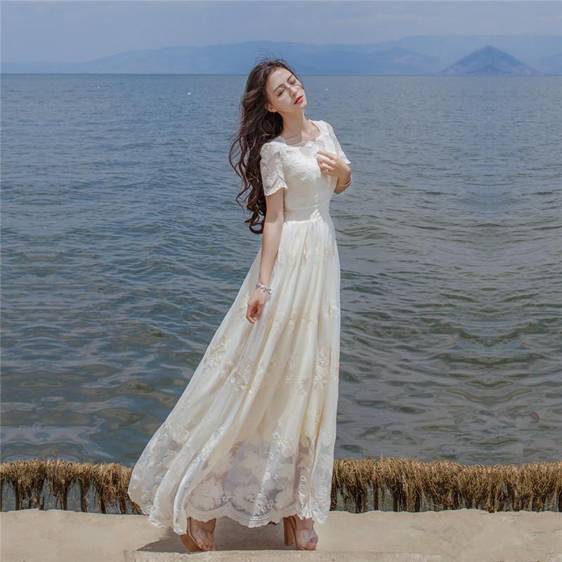 刺绣花朵收腰显瘦蕾丝连衣裙女夏韩版学生海边度假沙滩长裙仙女神