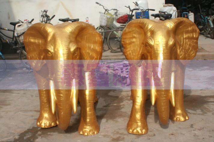 黃金象 惠州泡沫雕塑象噴臺 雕塑藝術品 工藝品象 動物人物定做