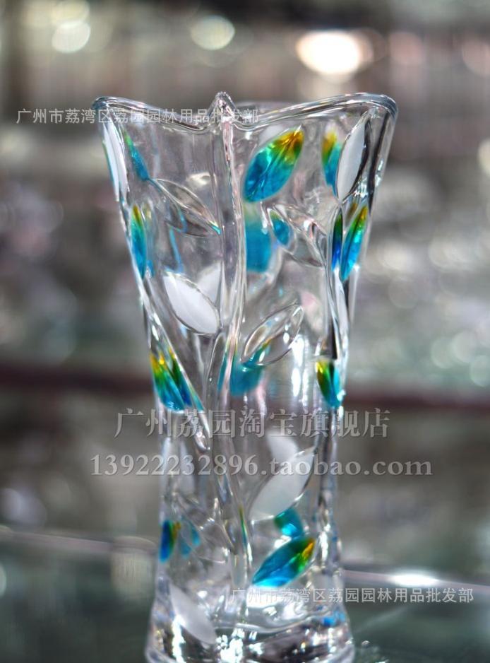树叶花瓶蓝色