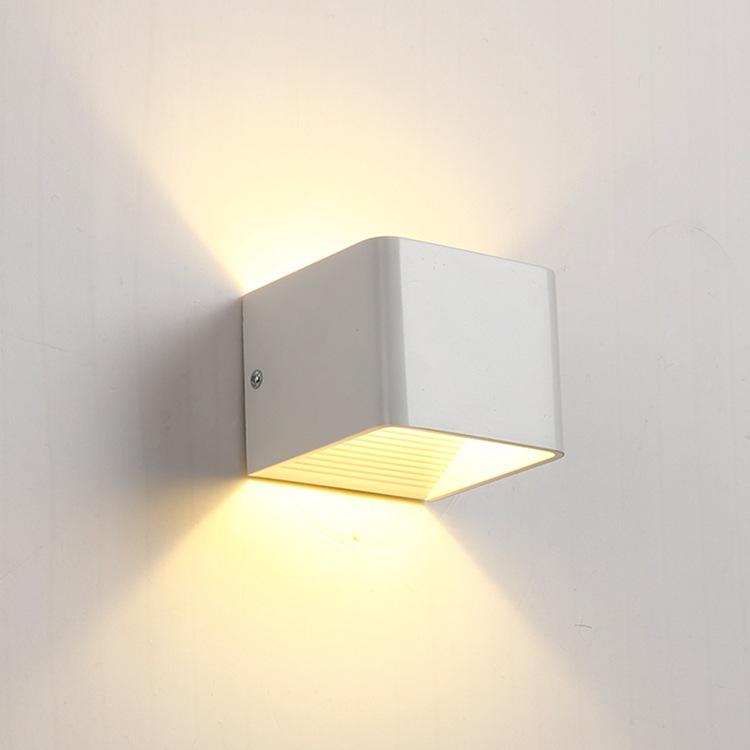 壁灯led简约方形铝材壁灯卧室床头灯现代简约创意双头酒店工程灯0图片