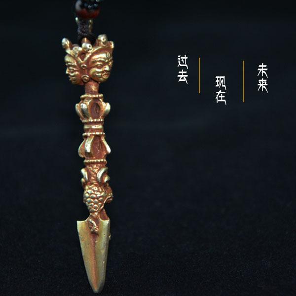佛教法器铜镀金降魔杵金刚杵三面佛头精致款吊坠