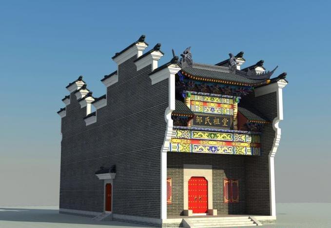 广西柳州仿古祠堂设计图纸 农村祠堂施工装饰