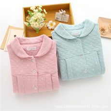 女式 秋冬保暖纯棉空气层 家居服 睡衣 哺乳 月子服