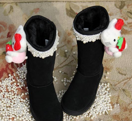 13秋冬新款甜美公主水钻珍珠卡通可垫内增高高筒雪地靴