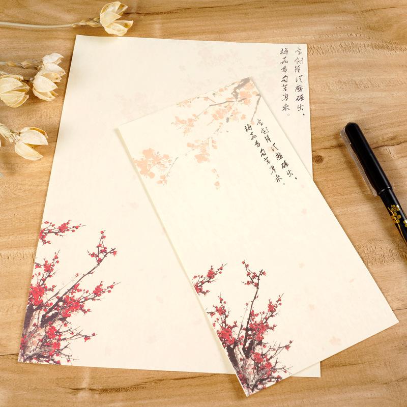 古风文艺传统中国**墨画花鸟国画信封信纸古典中式信封彩色信.图片