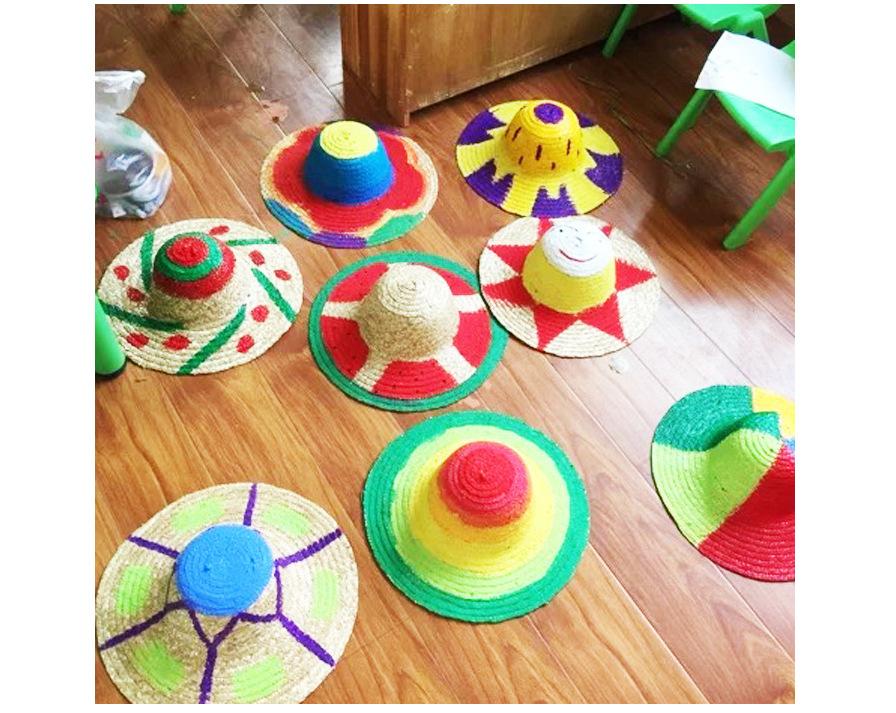 幼儿园绘画草帽diy墙面布置装饰创意美术材料画画涂鸦草编图片