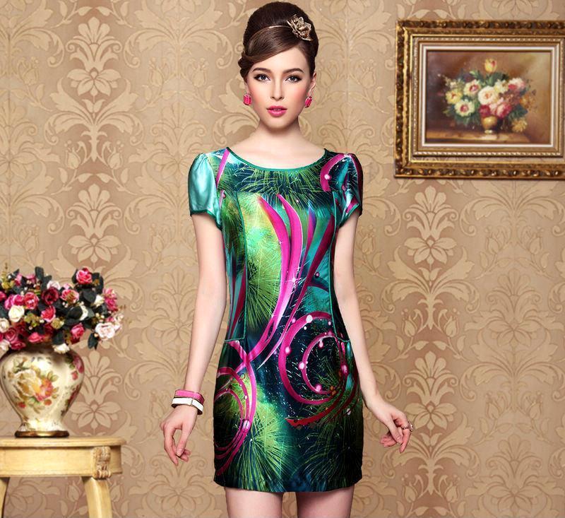 高贵气质 简洁修身抽象印花真丝连衣裙子 2013夏装新款女装夏季