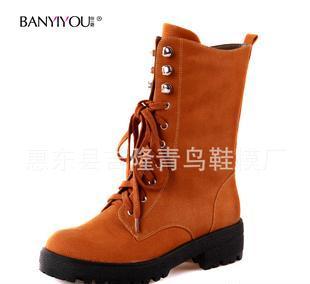 2012秋冬新款欧美骑士靴时尚女靴拉链系带马丁靴中筒女靴 女靴子