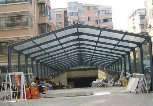 【厂家批发】优质钢结构骨架阳光板地下车库出入口雨棚最低价0