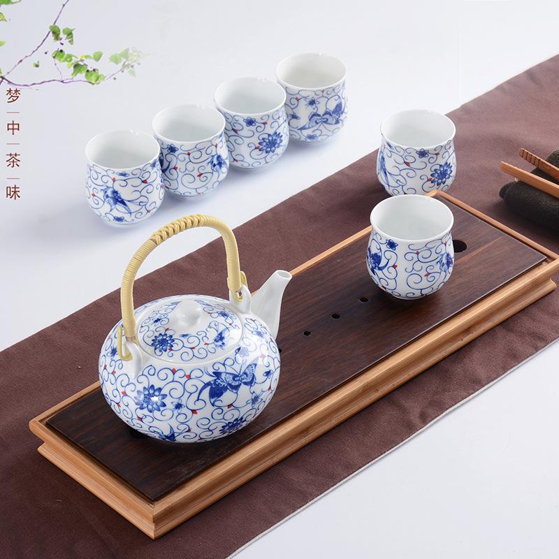 君之福陶瓷 青花大号提梁壶茶杯 日式高白功夫茶具 礼品定制批发