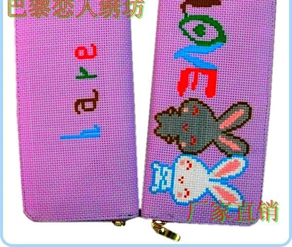 新款女包 爱情兔子 十字绣成品钱包 拉链包 电脑绣花 颜色可选