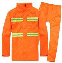 现货供应环卫工作服公路连体雨衣反光分体双层雨衣超薄透气橘黄色