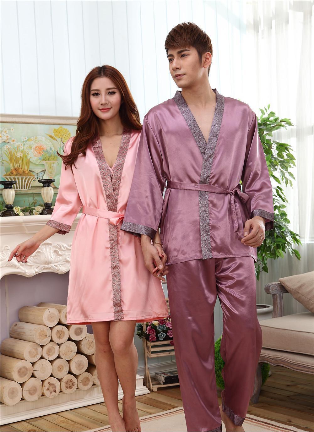 新款情侣睡衣长袖春秋彷真丝绸结婚庆红色睡衣男士女士套装家居服