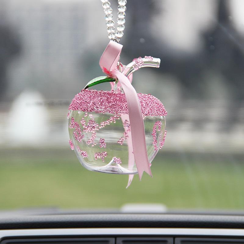 施家雪花汽车水晶苹果挂件后视镜高档香水吊饰保平安汽车挂件