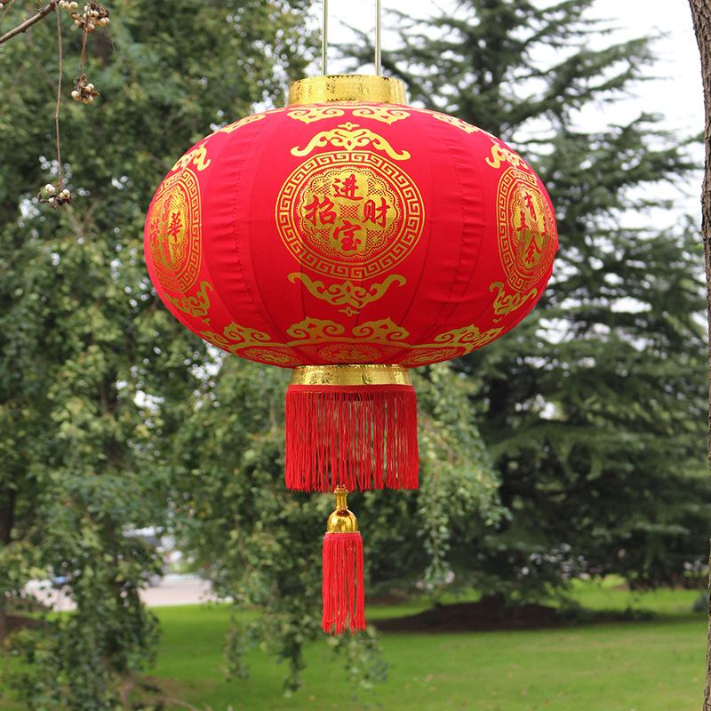 新年大红灯笼植绒布灯笼春节乔迁户外多面祝福恭喜发财圆灯笼年货