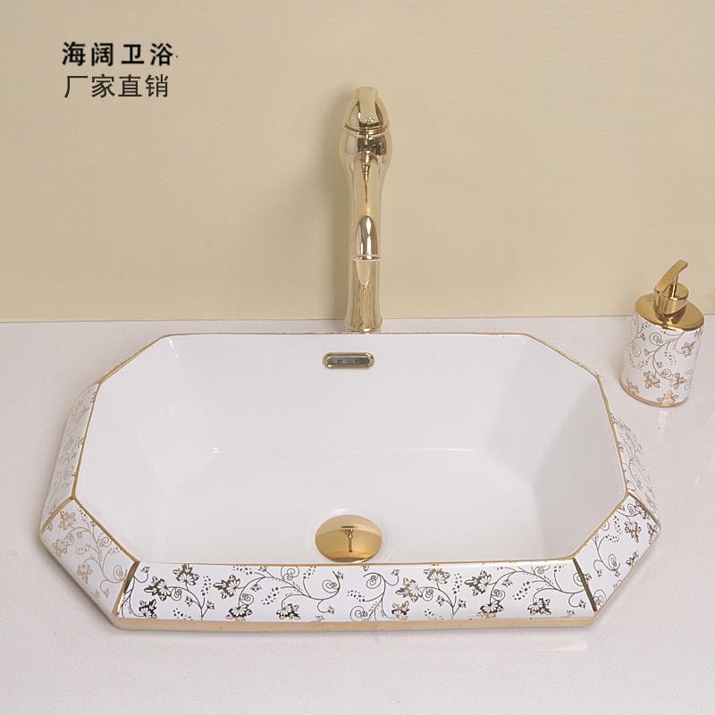 半嵌入式台盆 台中盆陶瓷洗手盆 边台上盆艺术面盆图片