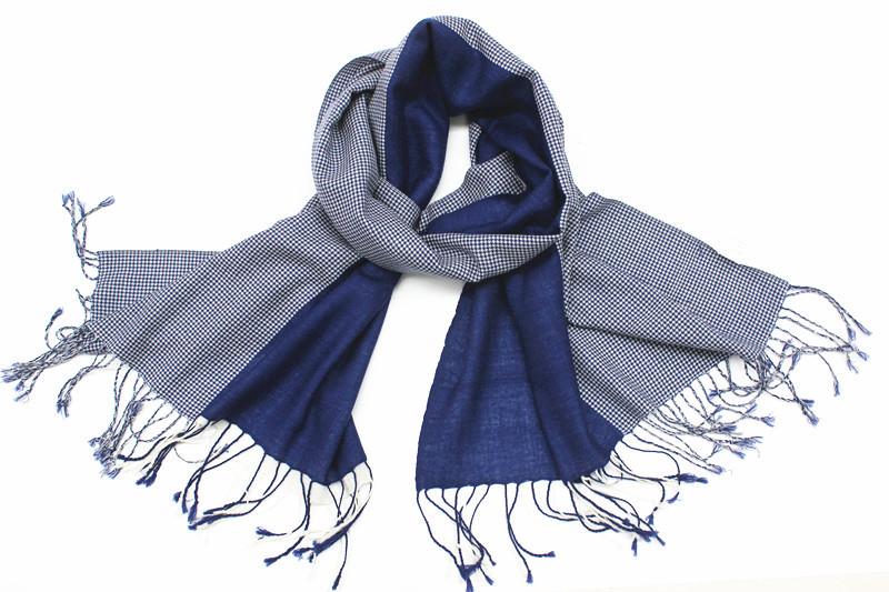 2015秋冬新款千鸟小格子和平布拼接羊毛围巾一条三种围法