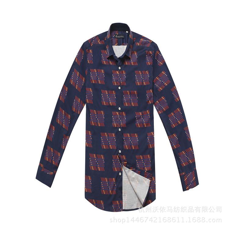 厂家直销可定制品牌质量尾料透气长袖衬衫高端面料全棉印花衬衫