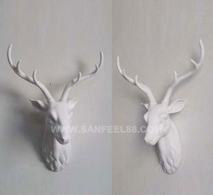 批发定制树脂供应品动物摆件 白色中 小鹿头摆件