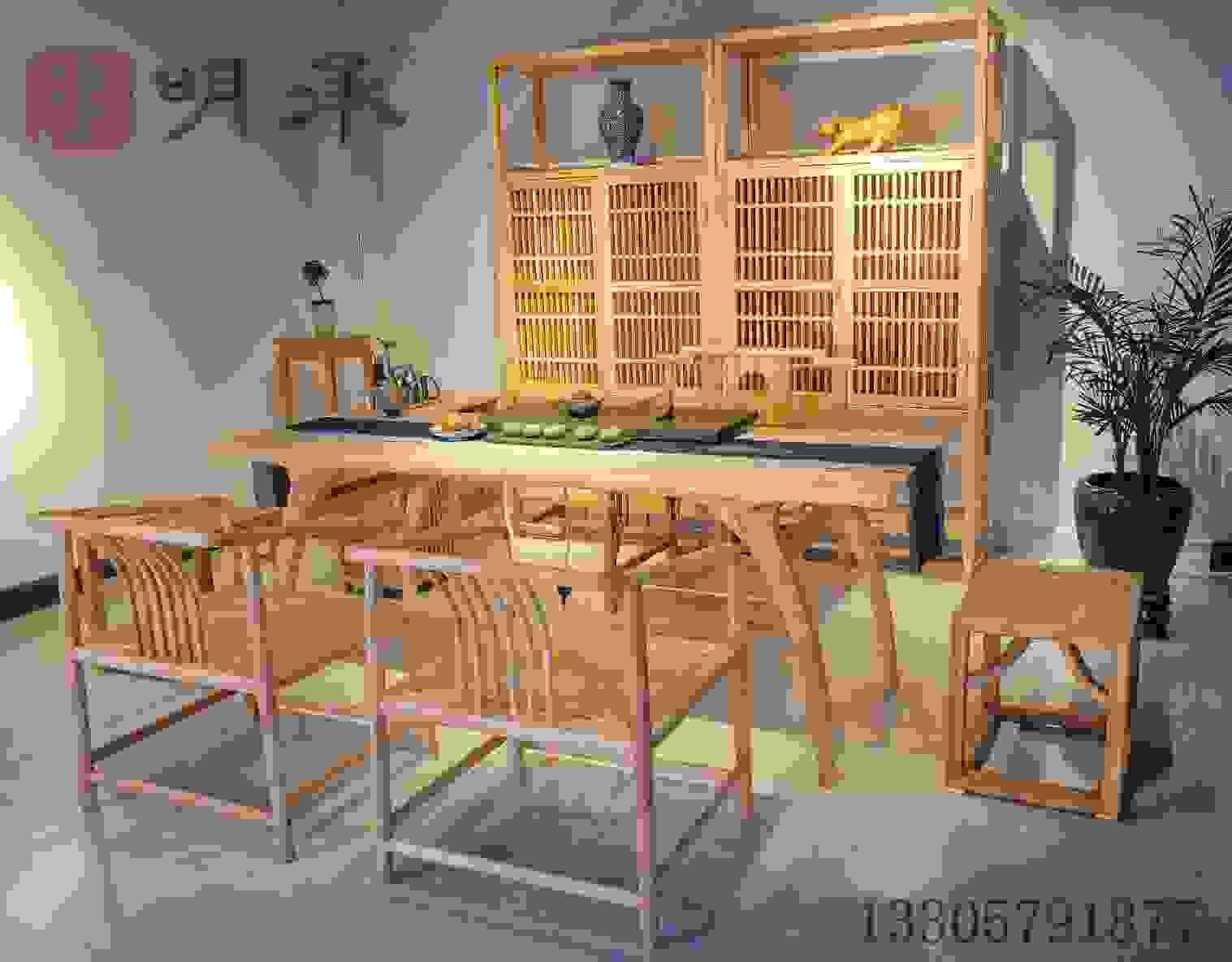 老榆木茶空间茶桌茶家具定制新中式禅价格浙竹家具家具图片原图片