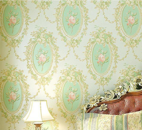 美式乡村田园镜子花无纺布墙纸 温馨卧室床头客厅沙发背景墙壁纸
