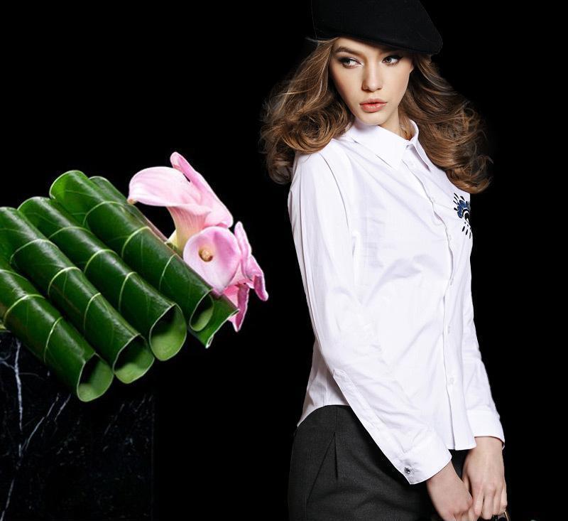 欧洲站 2014早春新品女装大眼睛刺绣衬衫上衣9689