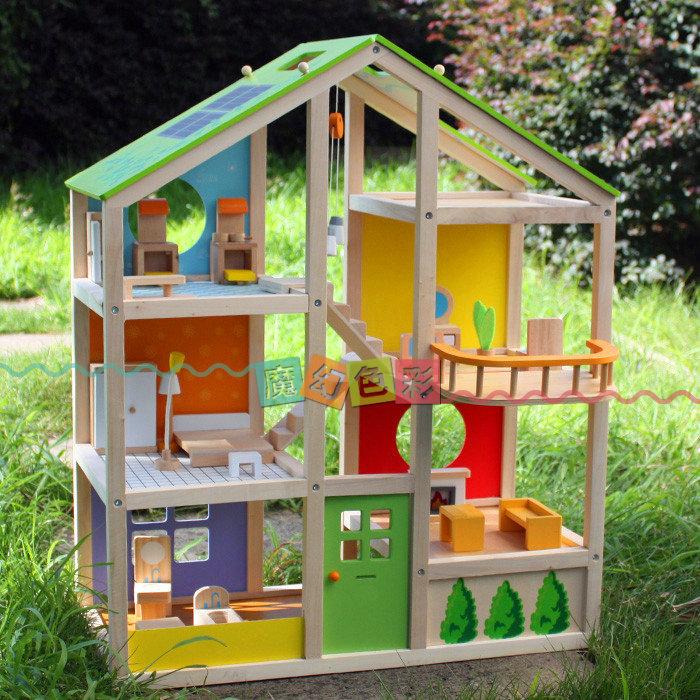 木制三层玩具屋露台儿童大型娃娃别墅房子diy别墅屋木制玩具0娃娃木顶套装图片