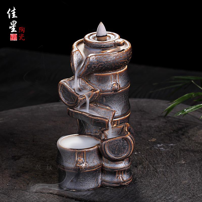 厂家供货 新款铁锈釉烟倒流香薰炉 陶瓷香炉 茶道塔香炉