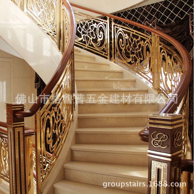 热销推荐别墅楼梯护栏富贵牡丹欧式雕花护栏铝艺室内楼梯防护栏杆图片