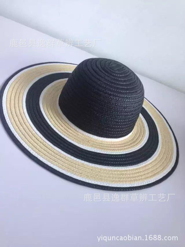 女士大沿原单草帽 日本韩版夏天太阳帽子 大檐沙滩帽