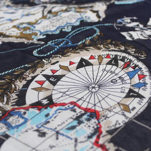 【现货】真丝雪纺100%桑蚕丝服装面料航海图