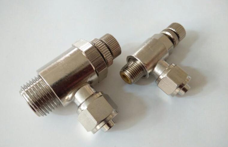 供应全金属 镀镍快拧单向调速阀 快拧节流阀 气缸调气阀接头图片