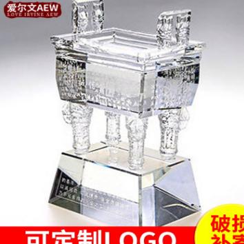 热卖定制k9水晶鼎 乔迁水晶鼎商务礼品摆件 可定制LOGO图案
