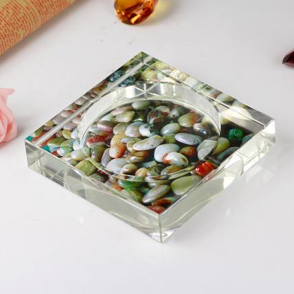 供应 水晶工艺礼品 内雕喷砂烟灰缸 k9方形烟灰缸 水晶定制