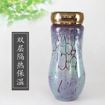 禹州钧瓷茶杯茶具带盖子双层保温杯便携旅行杯子过滤水杯养生杯