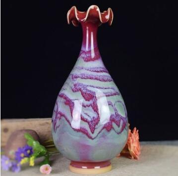 河南禹州钧瓷玉壶春花瓶 居家装饰工艺品博物架摆件 非景德镇瓷器