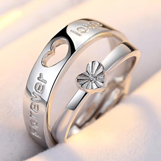供应 S925纯银饰品 镶钻镀白金 纯银情侣戒指 纯银饰品