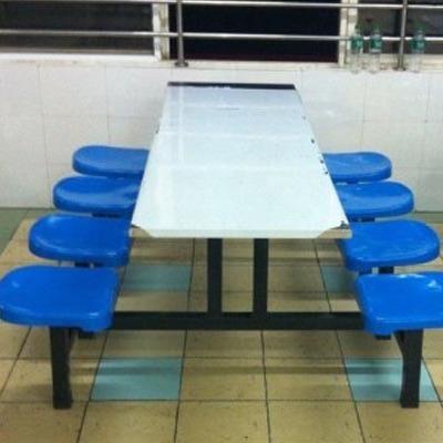 食堂玻璃钢长方形不锈钢连体桌 快餐桌子 学生校用4到8餐桌组合