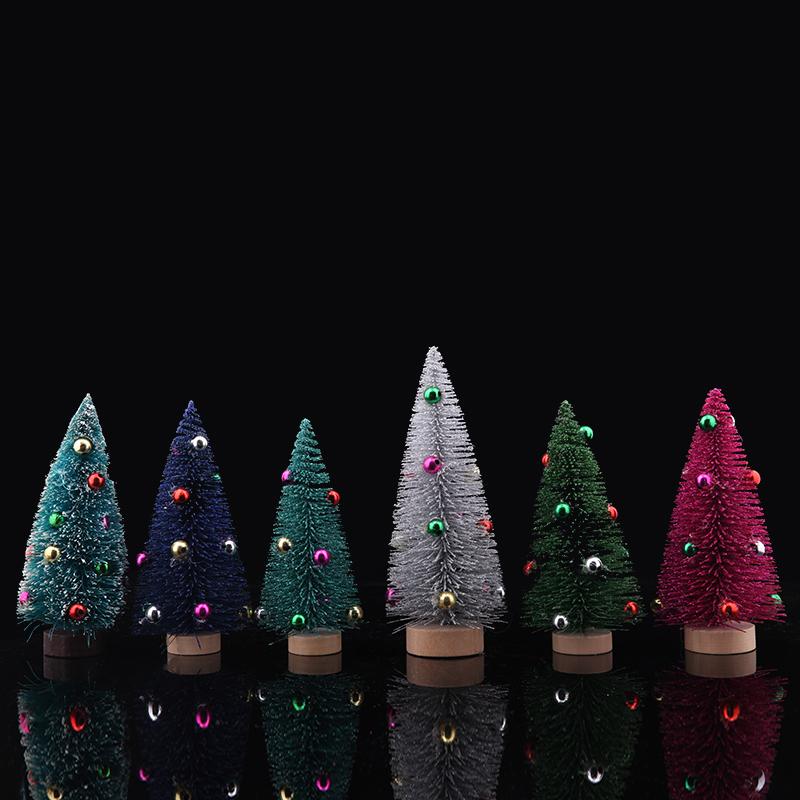 沾白雪松 迷你圣诞树 松针植绒圣诞小型树圣诞节装饰品桌面摆件