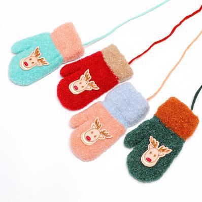 冬季新款宝宝圣诞包指保暖手套 可爱小麋鹿加厚防寒婴幼儿手套