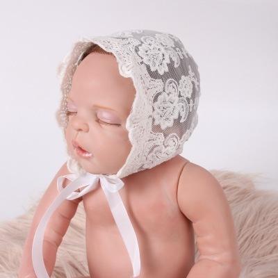 新款欧美婴儿宝宝摄影帽子棉质蕾丝绑带儿童帽 可爱胎帽