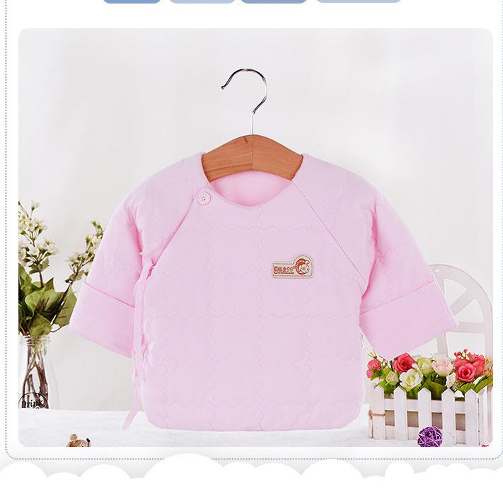 厂家促销秋冬夹棉半背衣0-3个月宝宝内衣绗绣棉衣新生儿内衣
