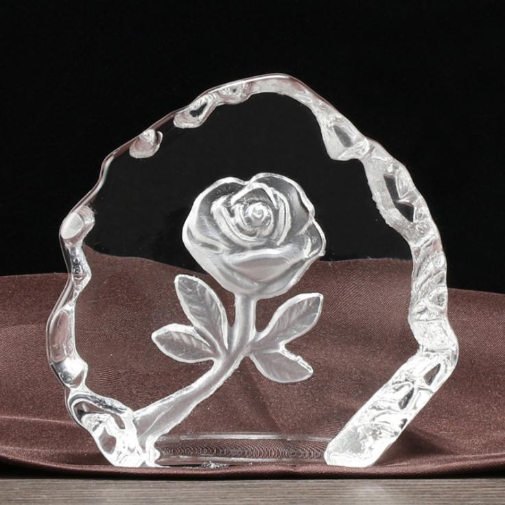 供应 创意图案水晶玫瑰内雕工艺品摆件 厂家定制 图案多样可选