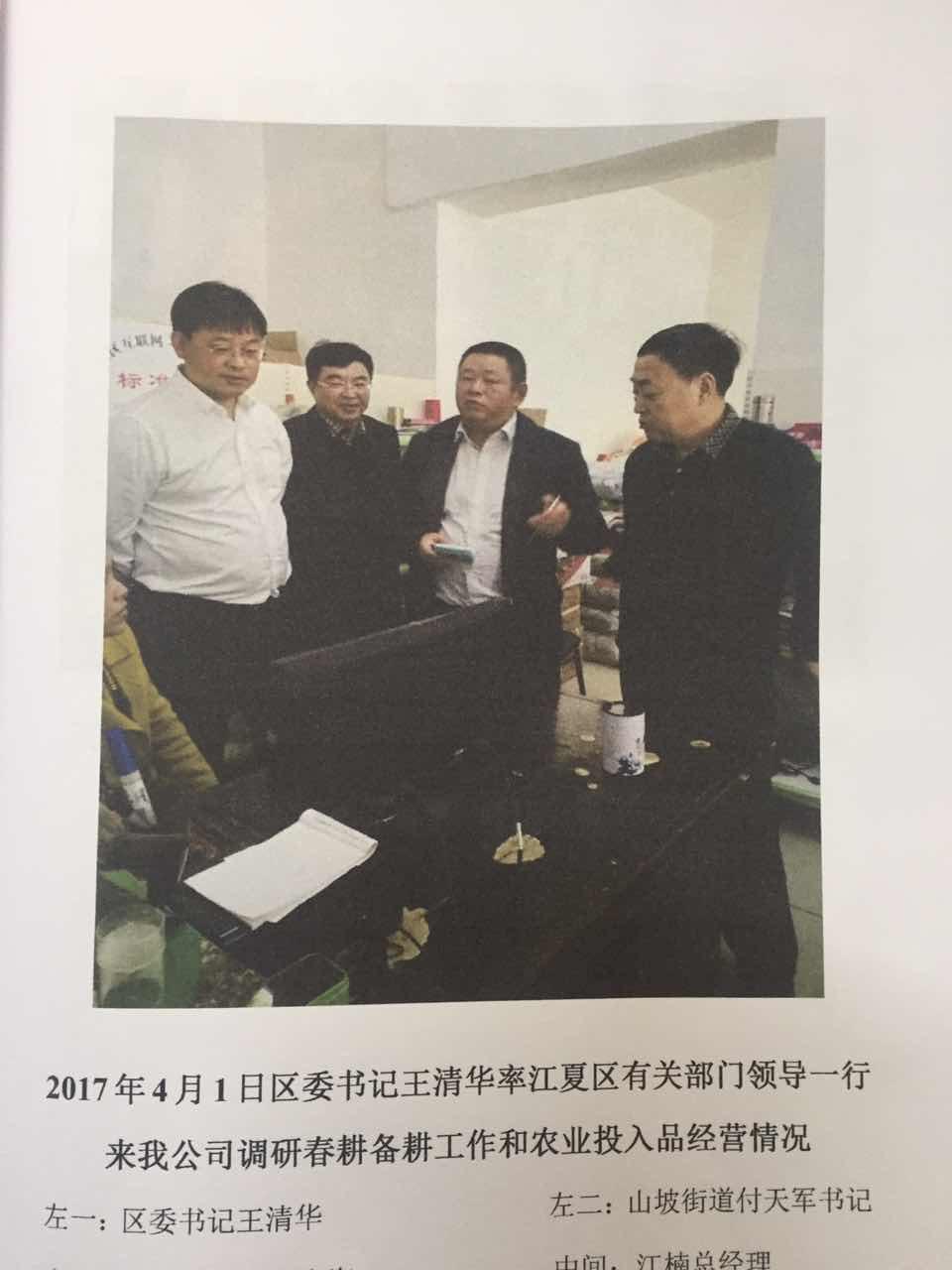 区委书记王清华到兰菊蔬菜做调研工作