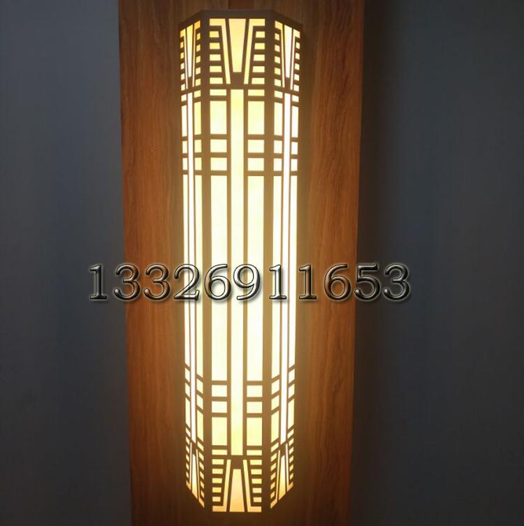 新中式现代风银灰色五金不锈钢壁灯图片亮灯效果图梯形复古壁灯定制
